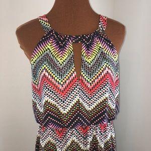 Emma & Michele Halter Top Multi Color Maxi Dress